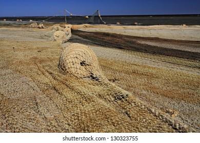 fishing net on the beach, Baltic sea, Lapmezciems, Latvia