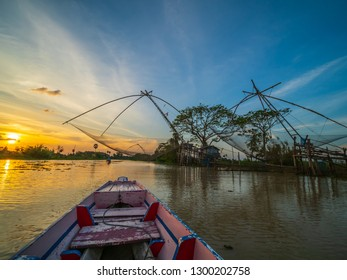 Fishing net  trap in the river