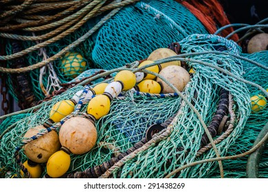 Fishing nets and buoys in a harbor in Brittany