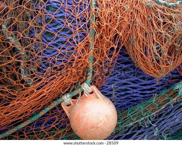 Fishing nets hanging out to dry.
