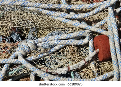 Fishing nets in the harbor. Tool for capture fishes.