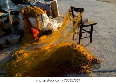 Fishing nets laid out on the floor at Crete, Greece