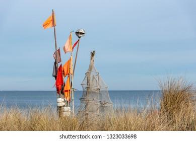 Fishing nets on a beach in Schleswig-Holstein, Germany
