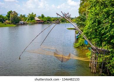 Fishing nets over Songkhla lake, Thailand