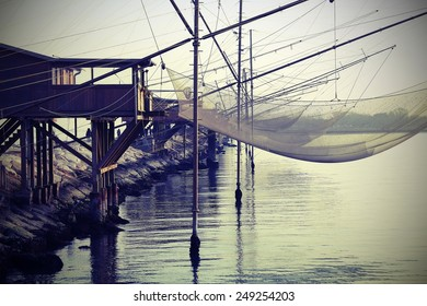 fishing nets over the Stilt houses