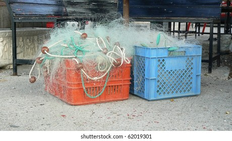 Fishing nets in a red and blue box