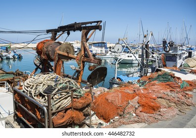 Fishing nets in the sea port