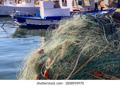 fishing nets stored in the port
