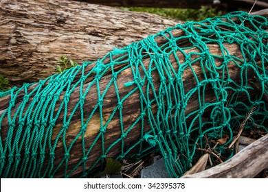 fishing nets tangled on a Russian beach