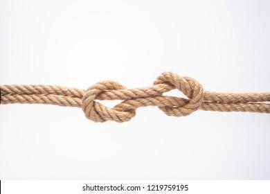 Fishing node on white background. Nautical rope knot
