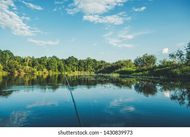Fishing on the banks of the picturesque river. Fly fishing
