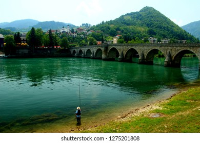 Fishing on the Drina River Visegrad, Bosnia.
