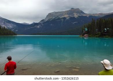 Fishing on Emerald lake under Wapta mountain Yoho National Park, British Columbia, Canada - July 26, 2005