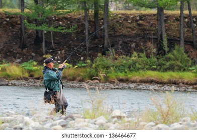 Fishing on river Shishged in the Mongolia