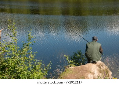 fishing on the Ural lake in Russia