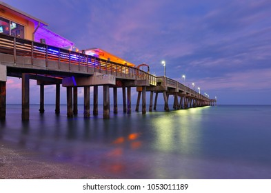 Fishing Peer at Dania Beach at Sun Set, Fort Lauderdale, Florida, USA.