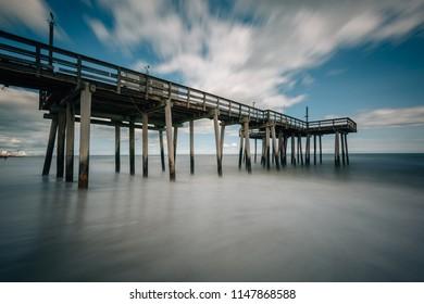 A fishing pier in the Atlantic Ocean, in Margate City, New Jersey.