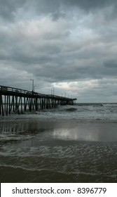 Fishing pier before storm
