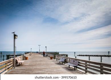 The fishing pier at Chesapeake Beach, along the Chesapeake Bay in Maryland