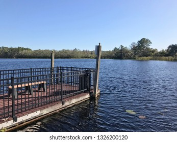 fishing pier or dock with bench overlooking lake davenport with trees on the horizon