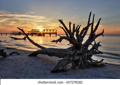 Fishing Pier from Driftwood Beach, Jekyll Island, Georgia.