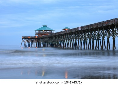 Fishing pier at Folly Beach, South Carolina, also known as the Edge of America, near Charleston.