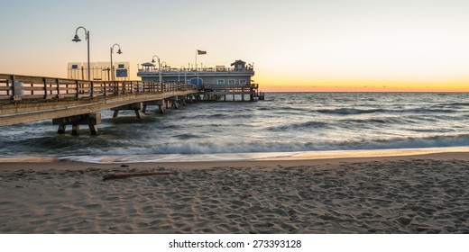 Fishing pier located in the Oceanview area of Norfolk Virginia on the Chesapeake Bay at sunrise