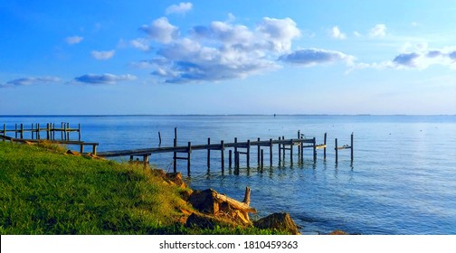 Fishing pier and morning clouds, Chesapeake Bay