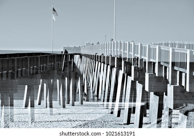 Fishing Pier at the Ocean Double Exposure
