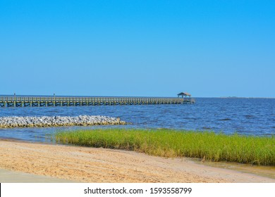 Fishing pier on the Mississippi Gulf Coast. Biloxi, Gulf of Mexico, Harrison County, Mississippi USA