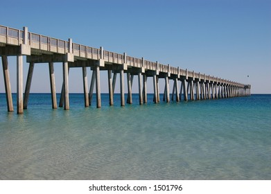 A fishing pier at Pensacola Beach Florida on a fine, clear, spring day