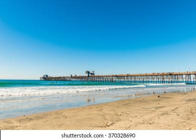 The fishing pier trestle bridge in Imperial Beach, San Diego, California.