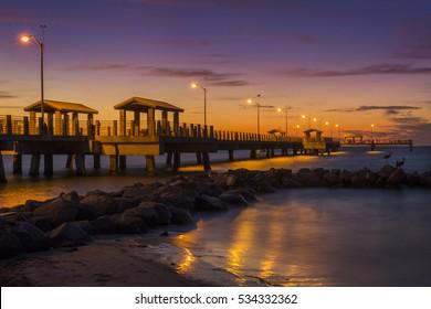 Fishing Pier at Twilight - Fort De Soto Park, St. Petersburg, Florida