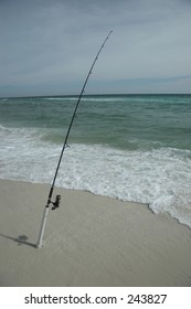 Fishing pole at the beach