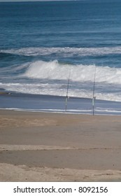 fishing poles on the beach in NC during the fall