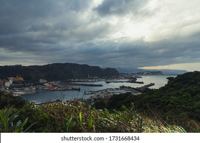 Fishing port with cloudy in taiwan