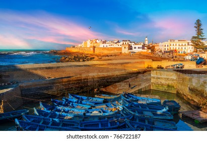 Fishing port and Essaouira town at the sunset time, Morocco
