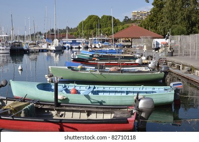Fishing port of Thonon les Bains on the banks of Léman lake to the east of France, commune in the Haute-Savoie department in the Rhône-Alpes region