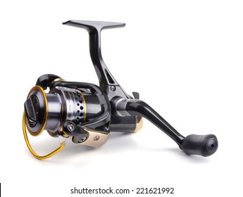 Fishing reel isolated on white