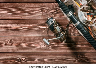 fishing rod and bites background with copy space