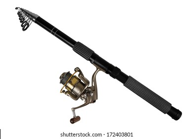 Fishing rod for fishing isolated on white background