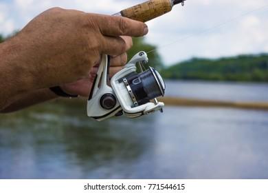 Fishing with rod on vistula river.