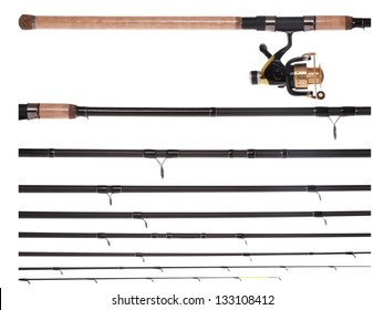 fishing rod, reel, broken into parts, isolated on white. Closeup with clipping path