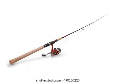 Fishing rod with a reel isolated on white background with soft shadow