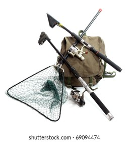 Fishing rods with reels and landing net with a back-pack.