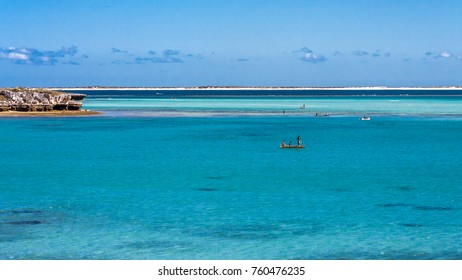 Fishing scene in the lagoon of Andavadoaka, southwestern Madagascar on July 24, 2017