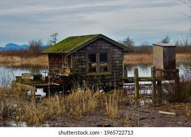 Fishing shacks along Skagit River