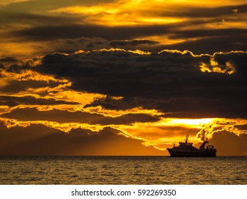 Fishing ship in Iceland during sunset