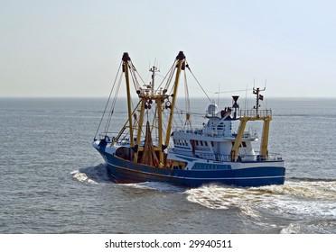 Fishing ship at open sea