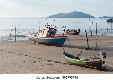fishing ship park on the beach at petra national park in satun, thailand